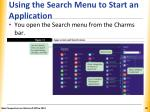 using the search menu to start an application