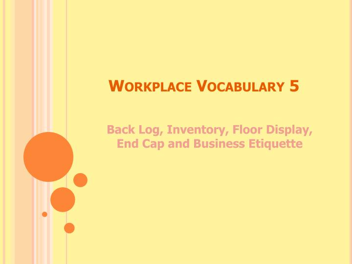workplace vocabulary 5 n.