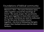 foundations of biblical community