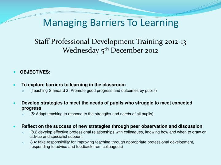 managing barriers to learning n.