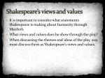 shakespeare s views and values