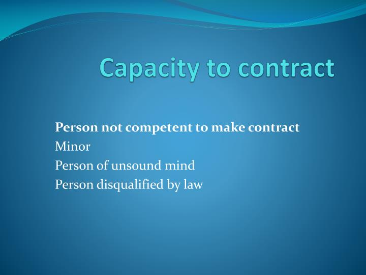 capacity to contract n.