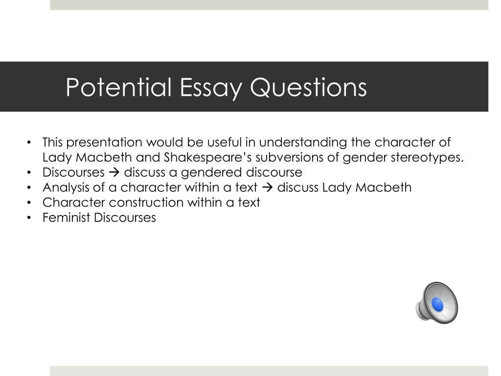 ppt   lady macbeth powerpoint presentation   id potential essay questions  this presentation would be useful in  understanding the character of lady macbeth