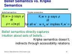 belief semantics vs kripke semantics
