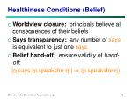 healthiness conditions belief
