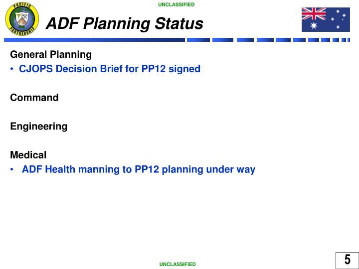 ADF Planning Status