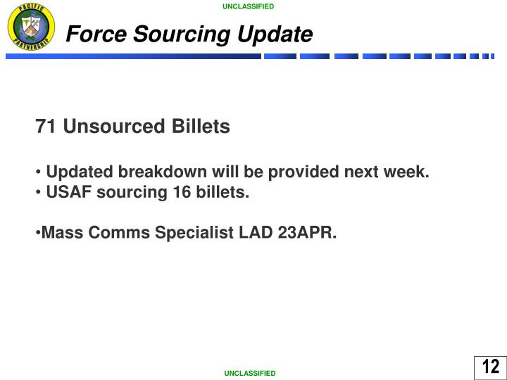 Force Sourcing Update