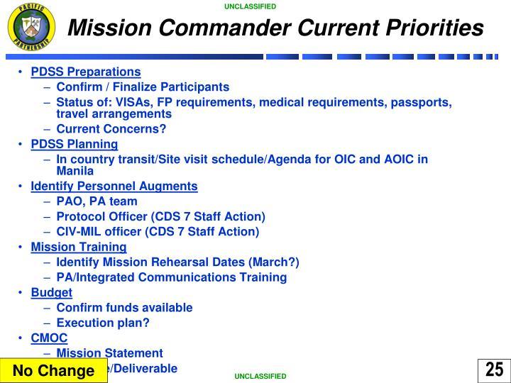 Mission Commander Current Priorities