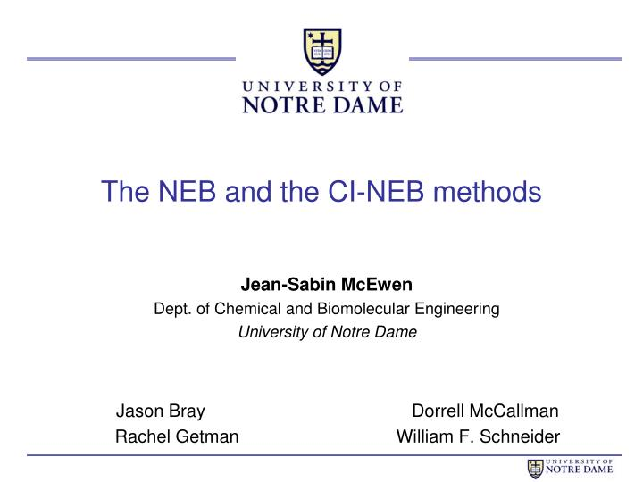 the neb and the ci neb methods n.