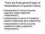 there are three general types of interpretations of quantum theory