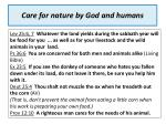 care for nature by god and humans