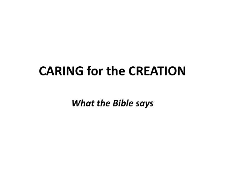 caring for the creation n.