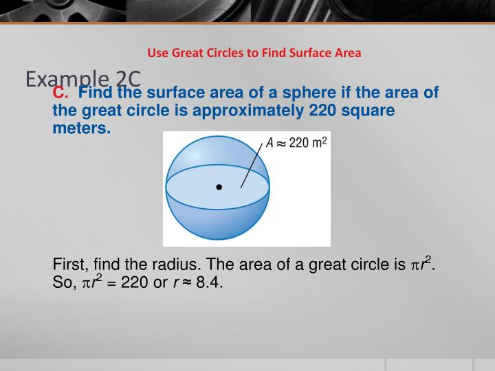 Use Great Circles to Find Surface Area