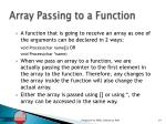 array passing to a function