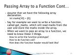 passing array to a function cont