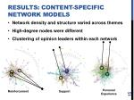 results content specific network models