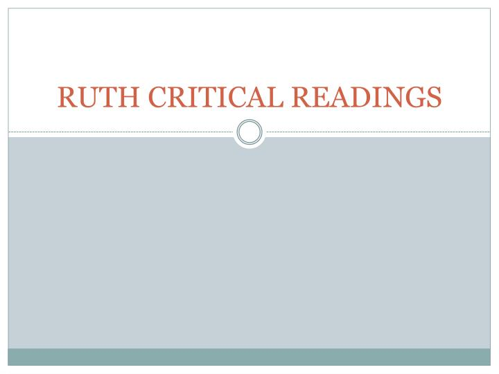ruth critical readings n.
