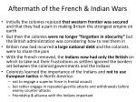 aftermath of the french indian wars