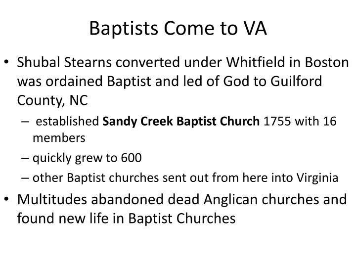 Baptists Come to VA