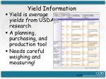 yield information