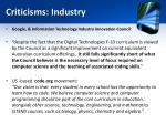 criticisms industry