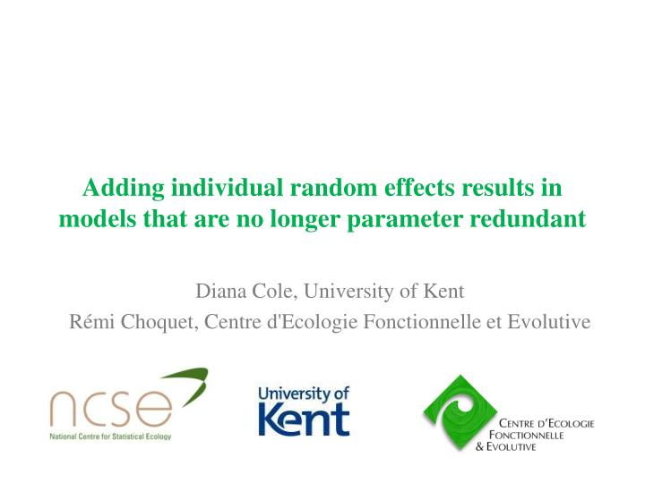adding individual random effects results in models that are no longer parameter redundant n.