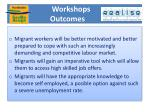 workshops outcomes