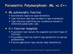 parametric polymorphism ml vs c