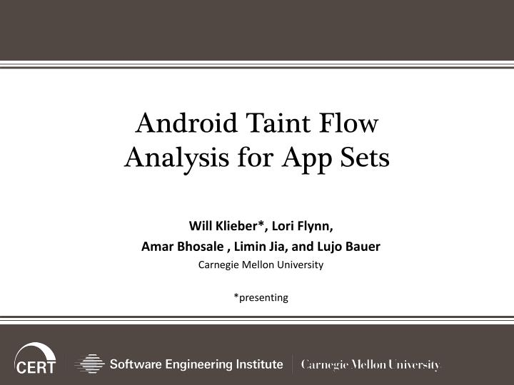 android taint flow analysis for app sets n.