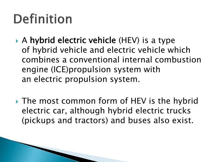 Hybrid Electric Cars Definition