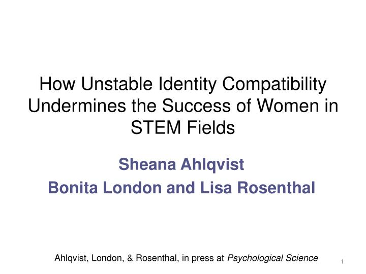 how unstable identity compatibility undermines the success of women in stem fields n.