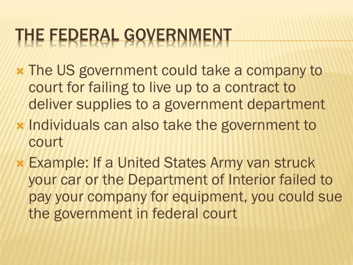 The US government could take a company to court for failing to live up to a contract to deliver supplies to a government department