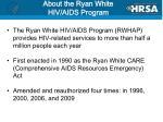 about the ryan white hiv aids program