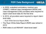 rsr data background
