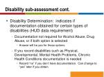 disability sub assessment cont1