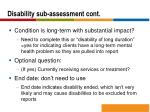 disability sub assessment cont2