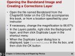 opening the bandstand image and creating a corrections layer