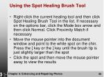 using the spot healing brush tool