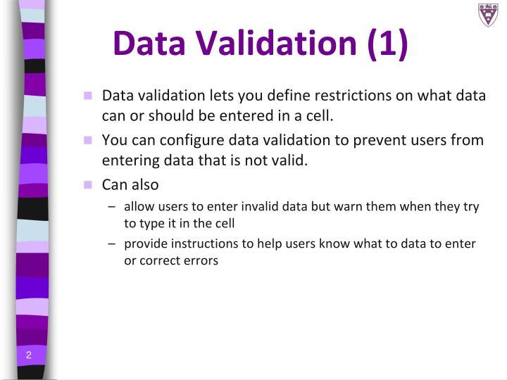 Data validation 1