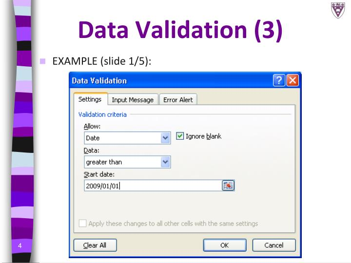 Data Validation (3)