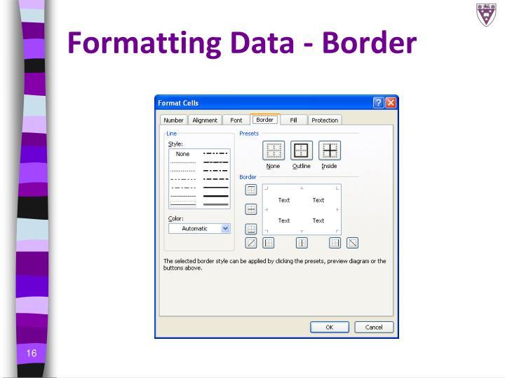 Formatting Data - Border