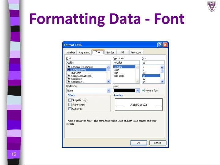 Formatting Data - Font
