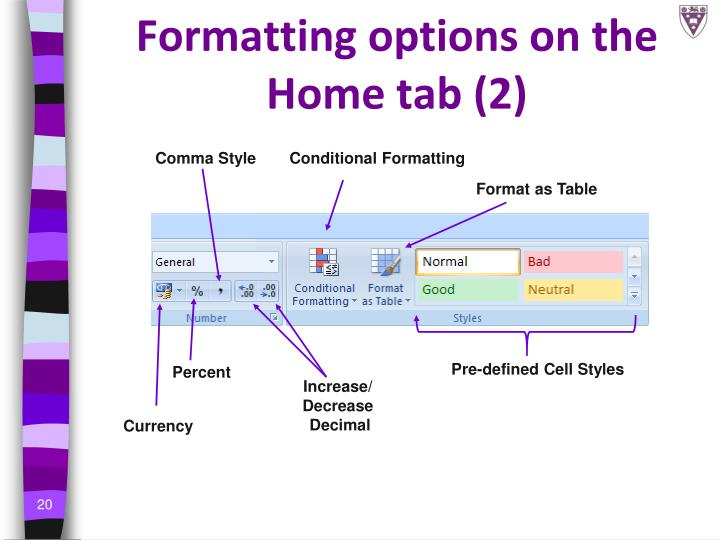 Formatting options on the Home tab (2)