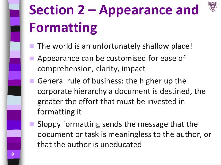 Section 2 – Appearance and Formatting