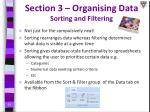 section 3 organising data sorting and filtering