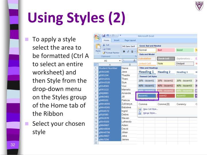 Using Styles (2)