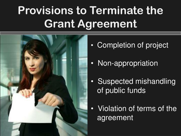 Provisions to Terminate the