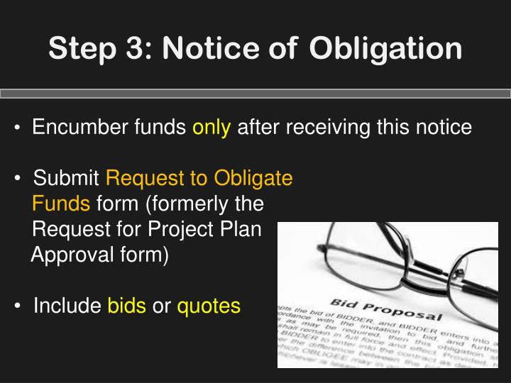 Step 3: Notice of Obligation