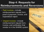 step 4 requests for reimbursements and reversions1
