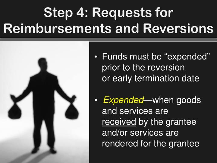 Step 4: Requests for Reimbursements and Reversions